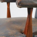 m22567 m22568 m22569 1950s Rosewood conference chair with blue leather upholstery Denmark