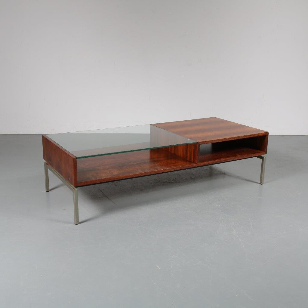 m23364 1960s Large coffee / side table rosewood with storage unit and glass top Gelderland / Netherlands