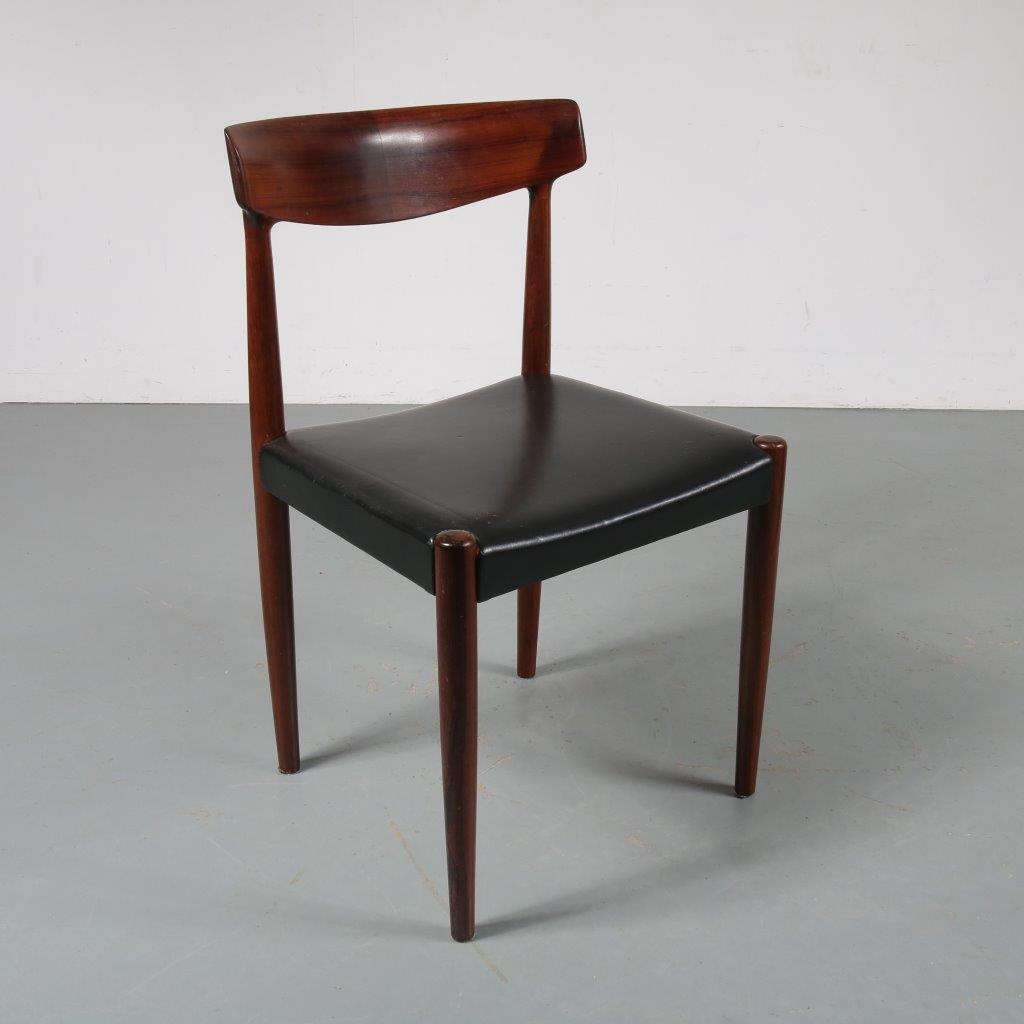 m23387 1960s Desk / side chair rosewood with black skai upholstery Knud Faerch, Bovenkamp Netherlands