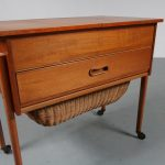 m23392 1950s Scandinavian style teak sewing table with wicker basket Netherlands