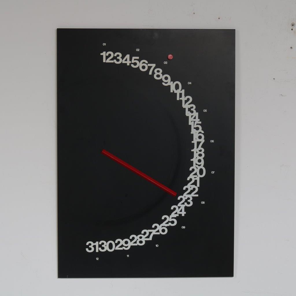 "m23396 1970s Black metal wall calendar model ""Meridiana"" Giulio Confalonieri Nava Milano / Italy"