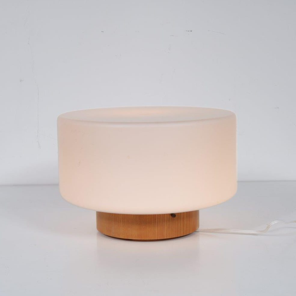 L4229 1960s Table lamp on pine base with milk glass hood