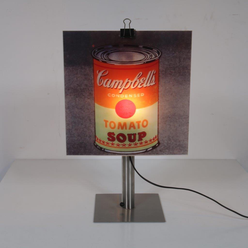 L4256 1999 Copylight table lamp (can) Andy Warhol print Gerhard Trautmann Brainbox / Germany