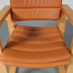 1960s Pair of square pine wooden easy chairs with cognac leather upholstery, Ate van Apeldoorn, Houtwerk Hattem Netherlands