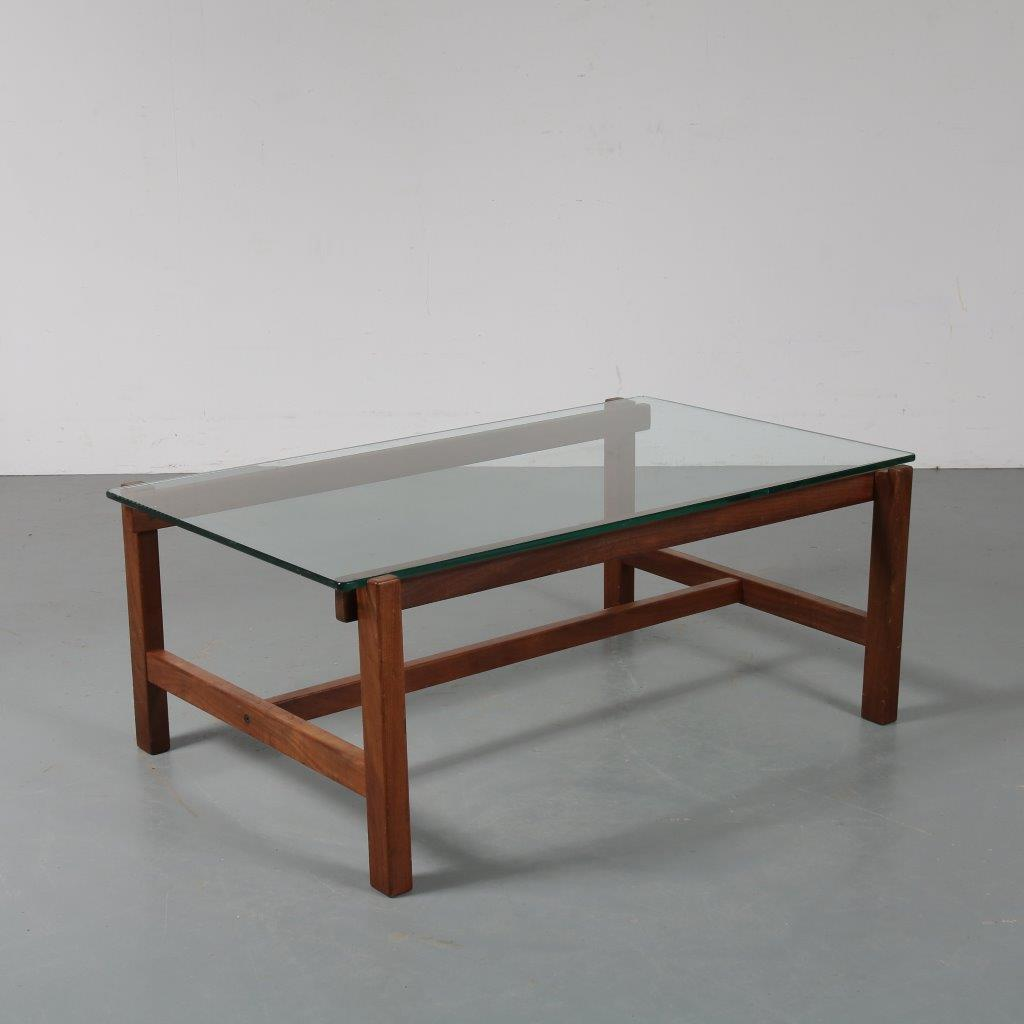 m23493 1960s Coffee table on solid teak base with glass top Cees Braakman Pastoe / Netherlands