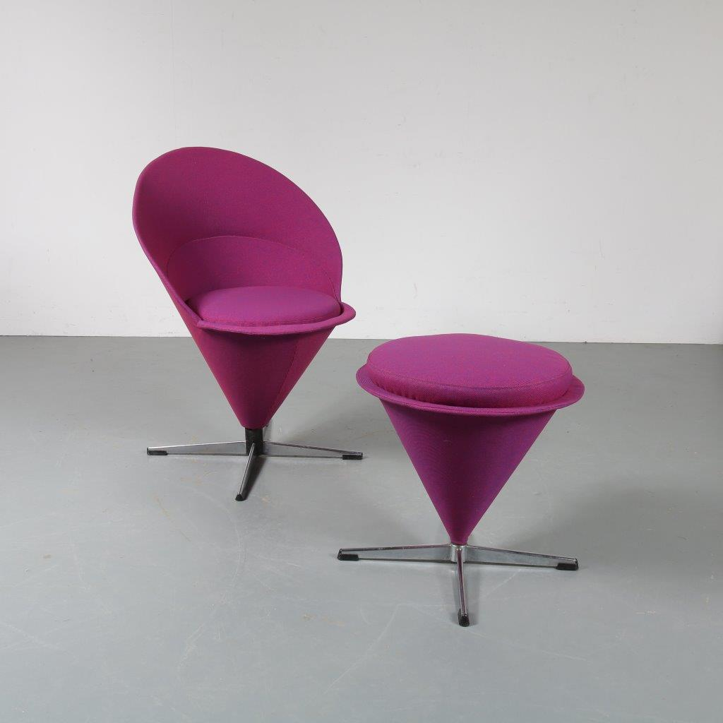 1960s Cone chair on chrome metal crossbase Verner Panton Plus Linje Denmark
