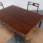 m23434 1960s Dark stained beech dining set 4 chairs with papercord upholstery with extendible dining table Moller Moller / Denmark