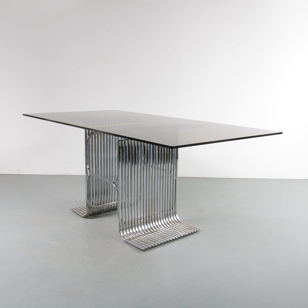 m23386 1960s French chrome pipe frame layer base table with rectangular smoke glass top Atelier A style