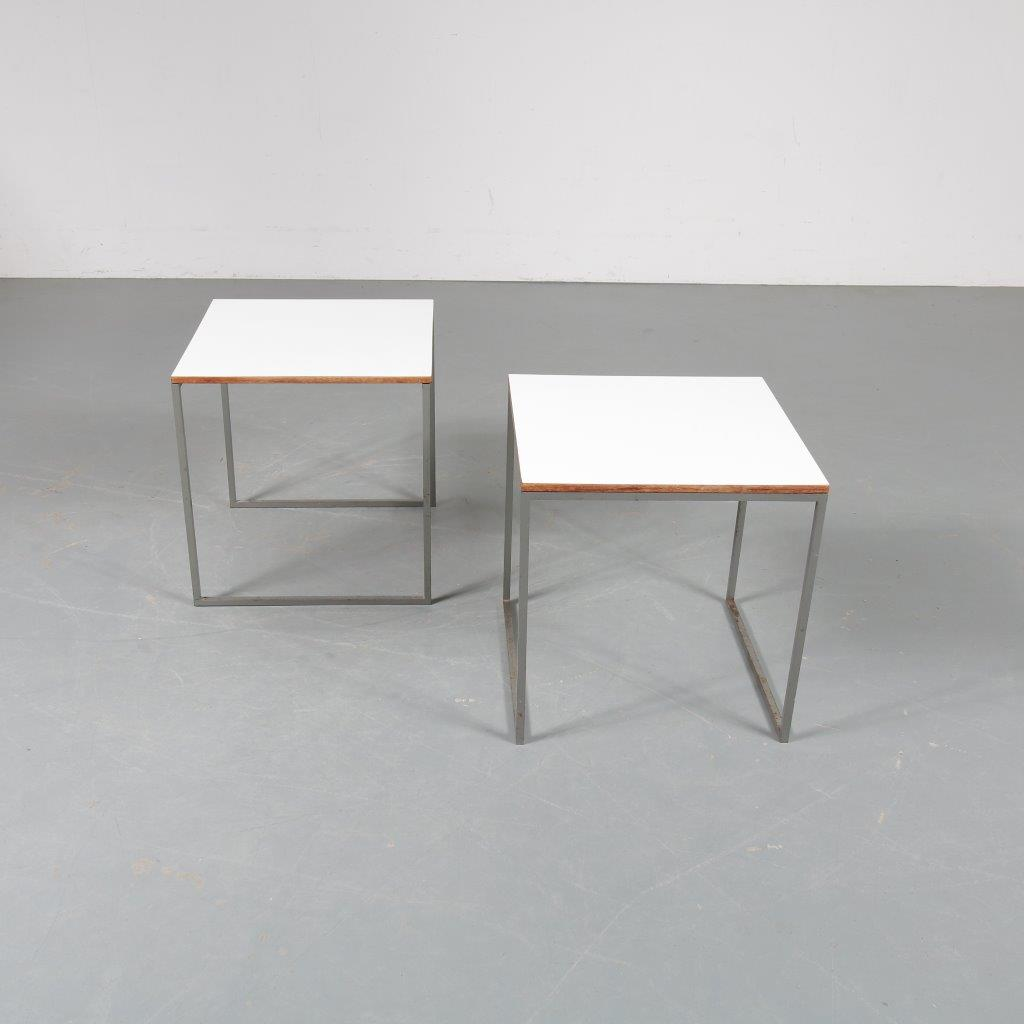 1960s Nice set of two side tables on grey metal base with white laminated tops Pastoe / Netherlands