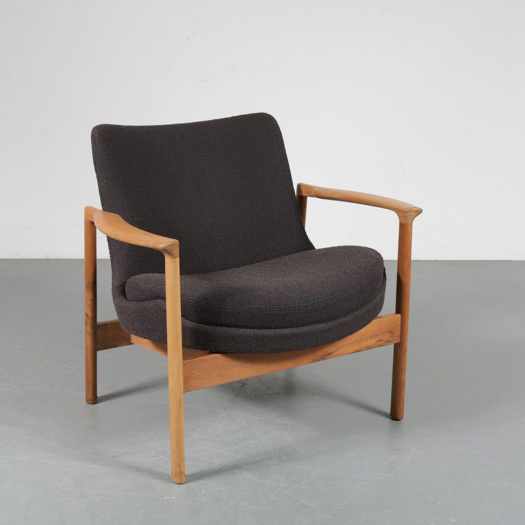 m23458 1960s Beech with birch wooden easy chair with grey De Ploeg fabric upholstery Ib Kofod Larsen