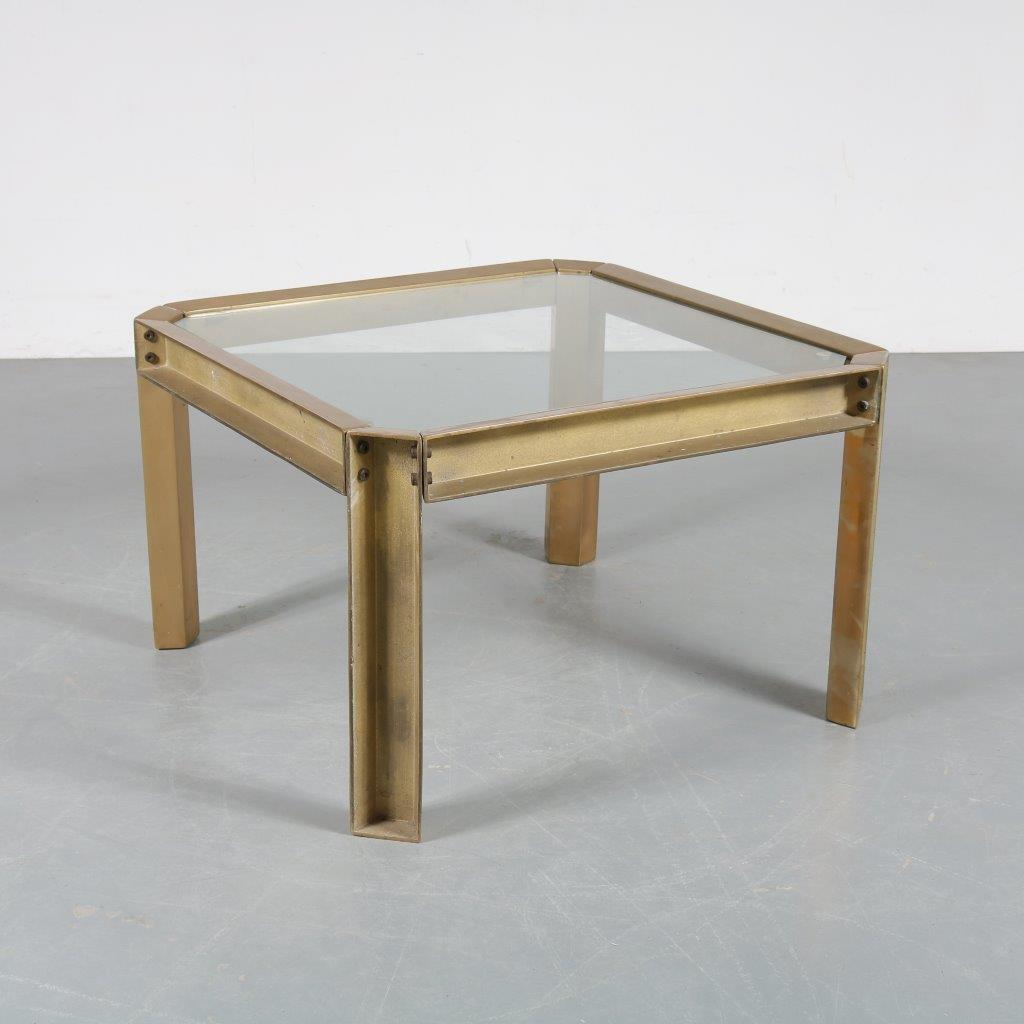 m23506 1970s Heavy brass square coffee table with glass top Peter Ghyczy Ghyczy / Netherlands