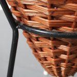 m22558 m22559 1950s Rattan shop display baskets with black metal base Dirk van Sliedregt Gebroeders Jonkers / Netherlands
