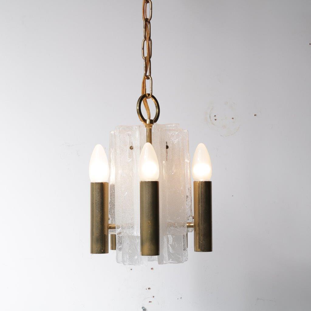 L4112 Kalmar hanglamp klein, wit goud pijpjes Mazzega Italy