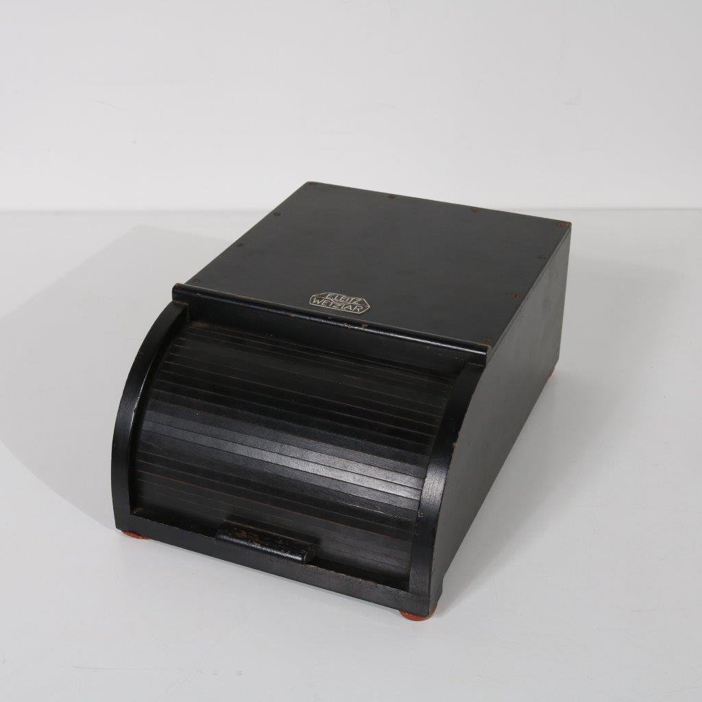 1930s Black wooden letter box with tambour door E. Leitz / Germany