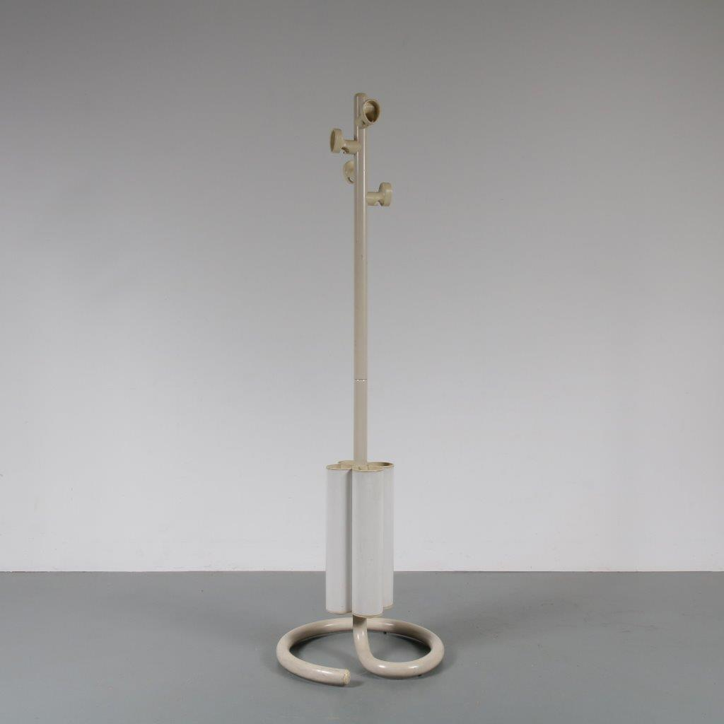 m22745 1970s Unique Italian free standing coat rack with umbrella stand made for Armani, Italy Martinelli / Italy