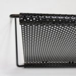 m23014 1950s Wall mounted book rack in black perforated metal style of Matégot Artimeta / Netherlands