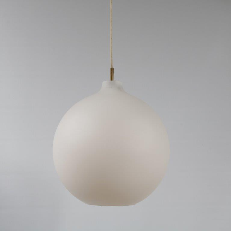 L4140 1960s Hanging lamp white milk glass ball Vilhelm Wohlert Louis Poulsen / Denmark