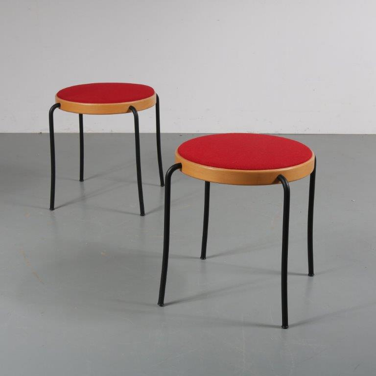 m23017 1970s Black metal stool with birch / red fabric seat Magnus Olesen Durup / Denmark