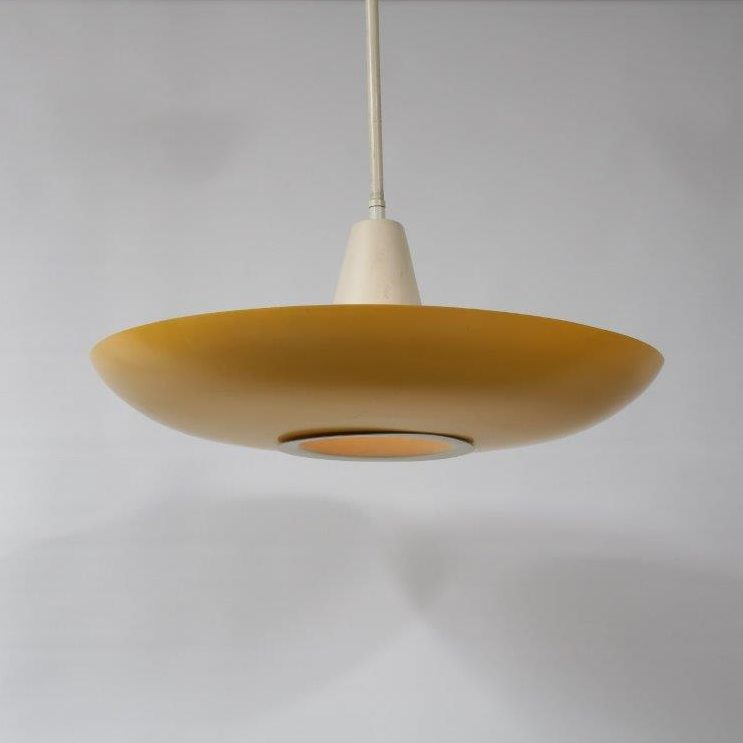 L4193 1950s Nice white with yellow metal hanging lamp Louis Kalff Philips / Netherlands