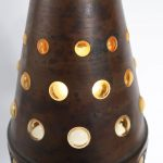 L4162 1960s Small hanging lamp in glass covered with copper with perforations Nanny Still Raak / Netherlands