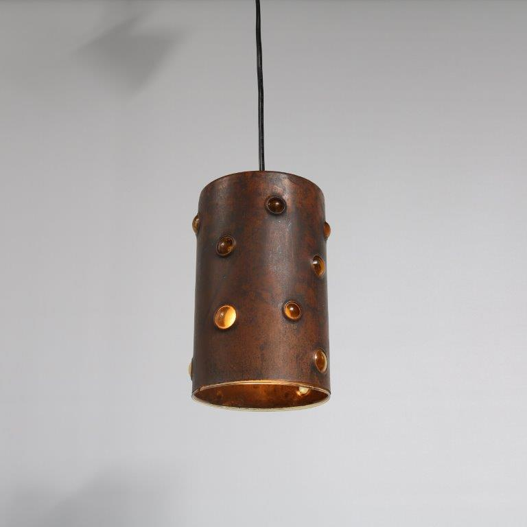 L4163 1960s Small hanging lamp in glass covered with copper with perforations Nanny Still Raak / Netherlands