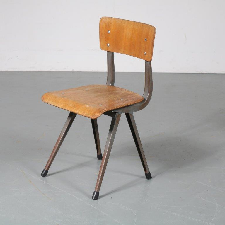 m23124 1950s Industrial styled children chair, metal base with plywood seat and back Friso Kramer style Netherlands