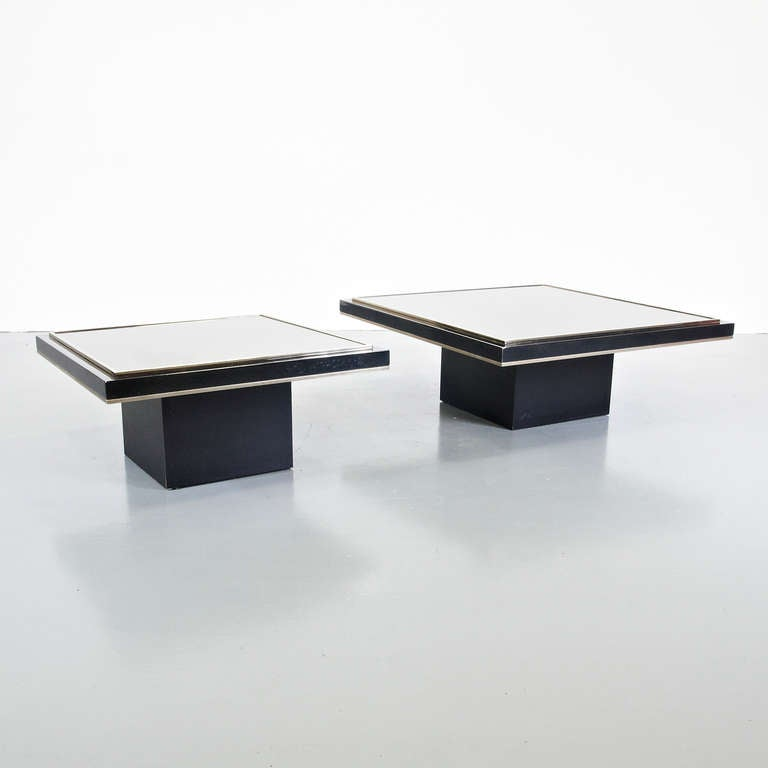 1970s Roger Vanhevel Pair of Coffee Tables with 23 Carat Gold, Belgium