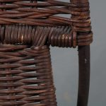 m23628 1950s Unique set of two wicker chairs on brown metal base