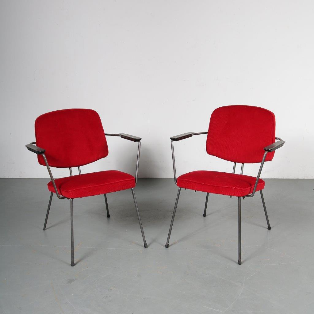 m23538 m23539 1950s Minimalist Dutch easy chair Rudolf Wolf Elsrijk / Netherlands