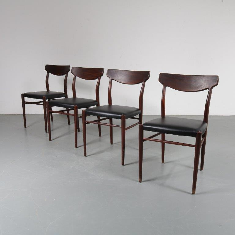 INC56 1950s Nice set of four dark teak dining chairs with new upholstery Harry Ostergaard Randers Mobelfabrik / Denmark