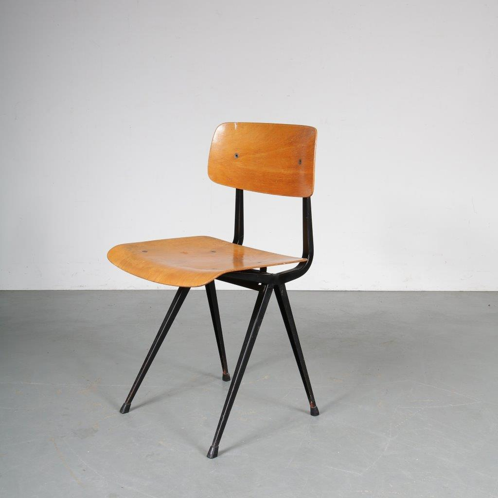 m23709 1950s 1st Edition Result chair in black metal with plywood seat and back Friso Kramer Ahrend de Cirkel / Netherlands