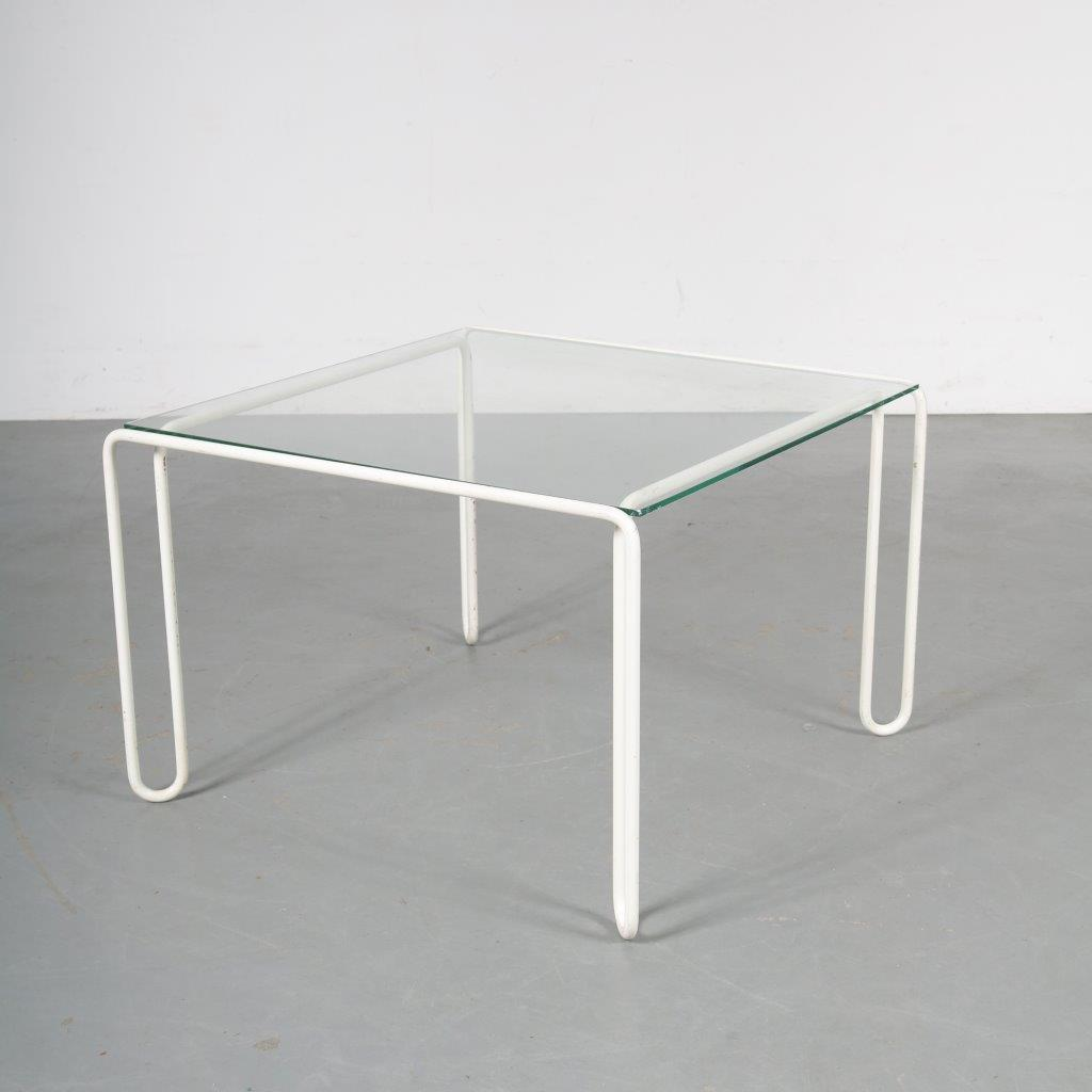 m23742 1970s Square coffee table on white metal base with glass top