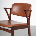 m23750 1950s Set of 4 rosewooden dining chairs with brown skai upholstery Kai Kristiansen Bovenkamp / Netherlands