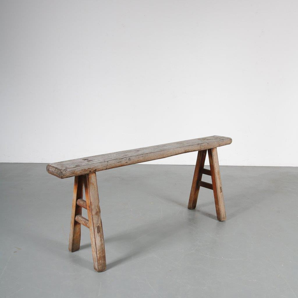 m23789 1950s Rustic wooden bench