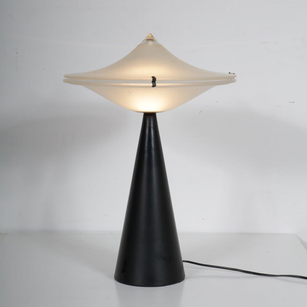L4345 1970s Table lamp on black metal base with glass hood Cezare Lacca Tre Ci Luce / Italy