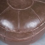 m23555 1960s Brown leather pouf