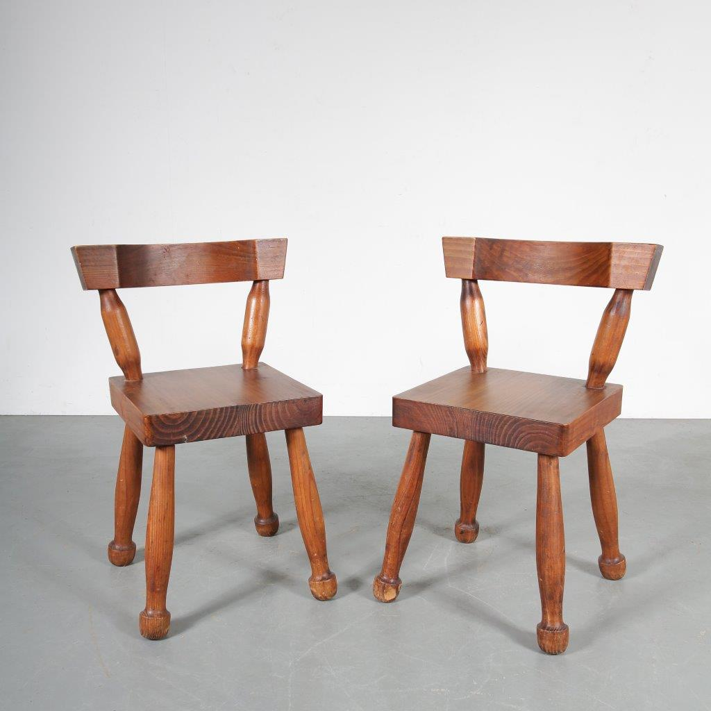 m23623 1960s Unique set of 2 heavy wooden Brutalist chairs