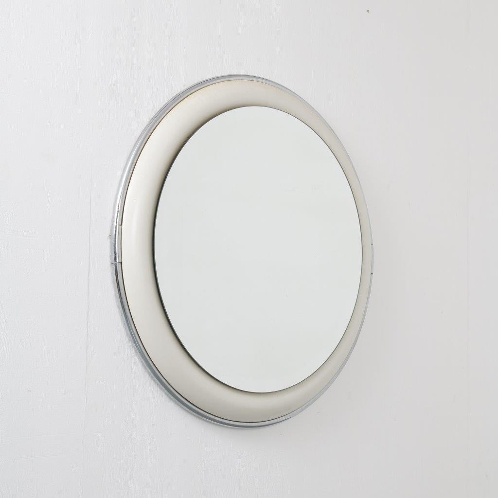 1970s metal, ceramics and glass mirror