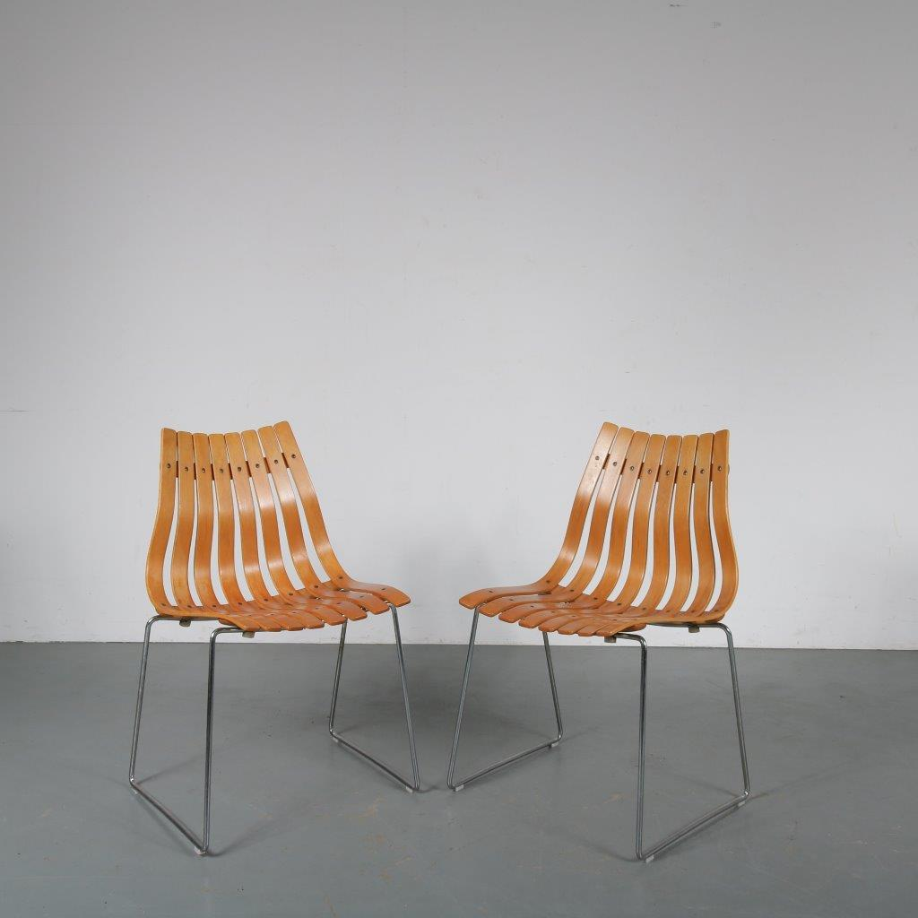m23865 1960s Stacking chair chrome metal frame with beech plywood seat Hans Brattrud Hove / Norway
