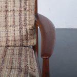 m23765 1950s Teak easy chair with original fabric upholstery Grete Jalk France & Daverkosen / Denmark