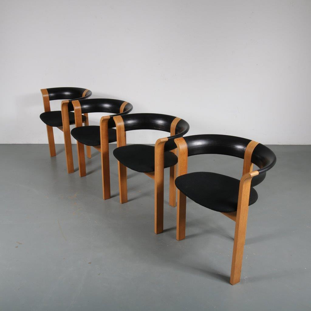 m23849 1970s Model 4551 4x dining chairs in wood with black fabric upholstery Rud Thygesen and Johnny Sorensen Magnus Olesen / Denmark