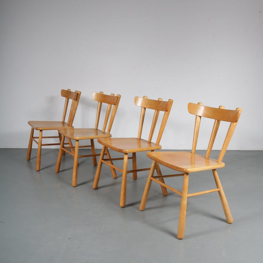 m23753 1960s Set of 4 beech dining chairs Sweden