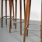 m23839 m23840 m23841 m23842 m23843 1950s Wooden bar stool with round metal foot support