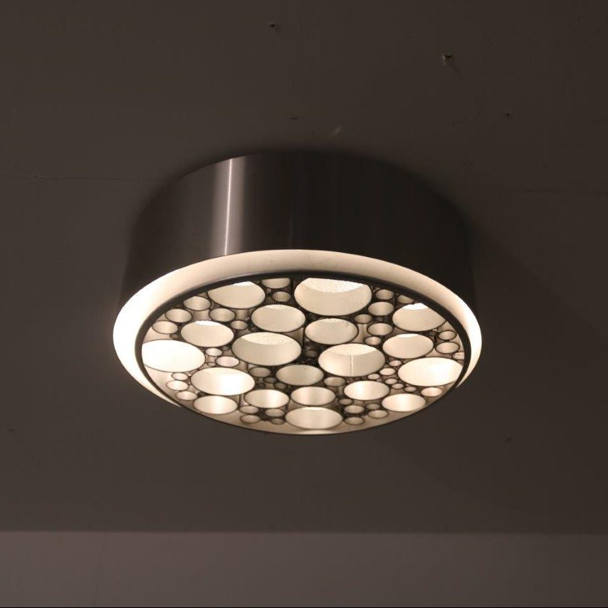 1960s Unique ceiling lamp in metal and blurred glass by Raak, Netherlands