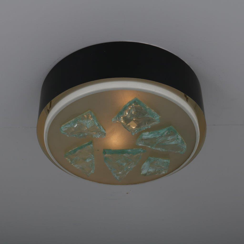 L3688 1950's Unique black metal ceiling lamp with thick pieces of glass Raak / Netherlands