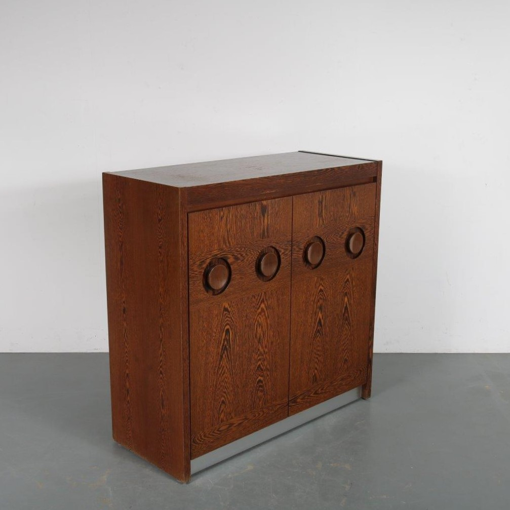 m23774 1970s Brutalist wengé bar cabinet Belgium