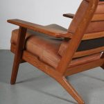 m23764 1950s Oak easy chair with original brown leather upholstery Hans J. Wegner Getama / Denmark