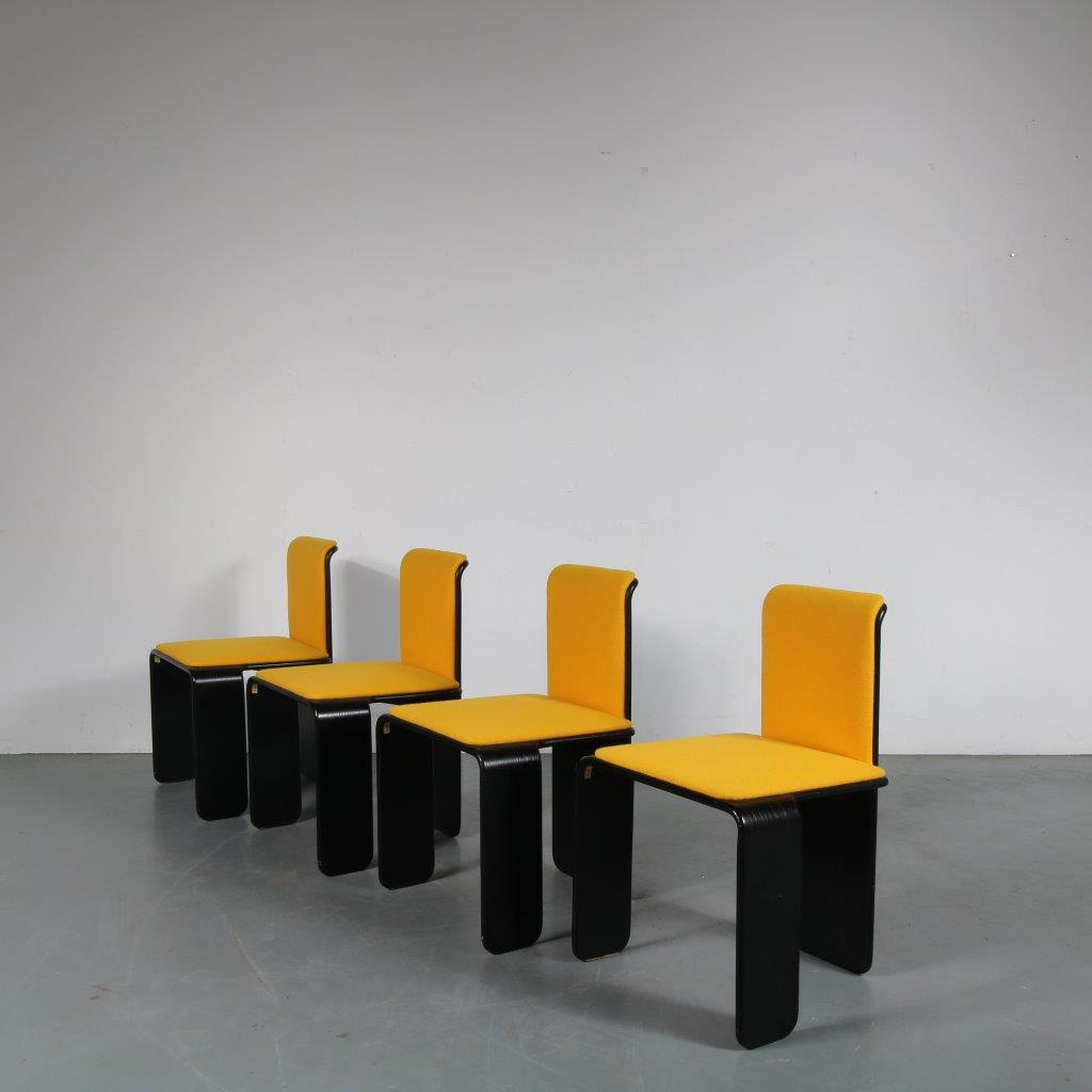 m23745 1970s Unique set of 4 black plywood dining chairs