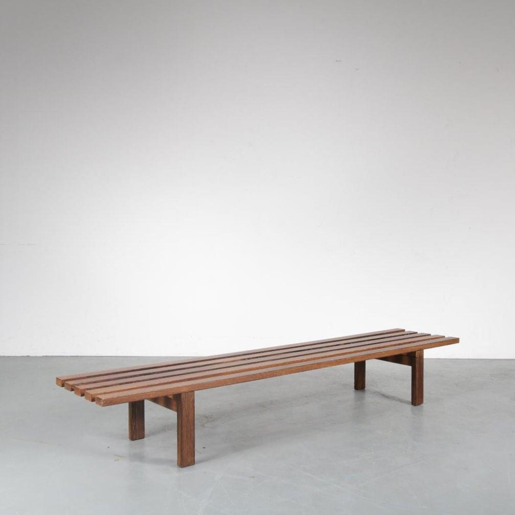 m23900 1960s Wengé museum slate bench Martin Visser Spectrum / Netherlands