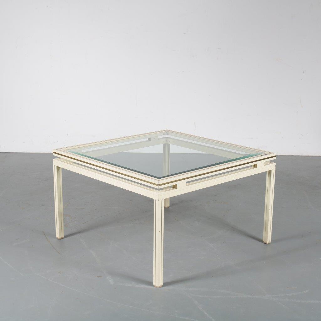 m23891 1970s Luxury white metal with brass coffee table with glass top Pierre Vandel Paris, France